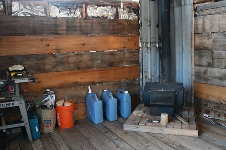 old shed with log burner