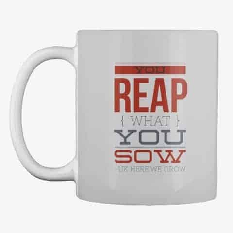 reap what you sow mug grey