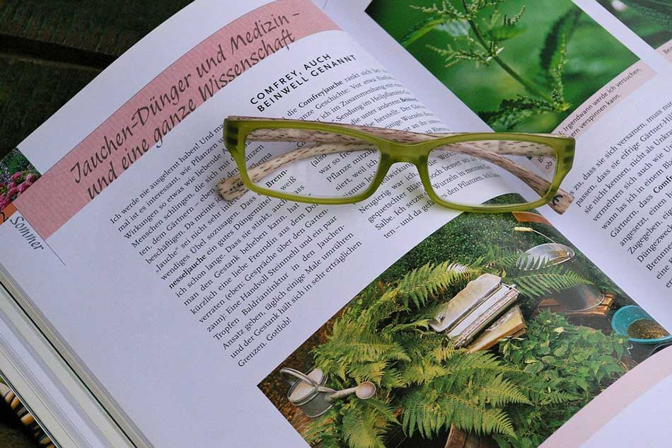 Picture of gardening book with glasses on