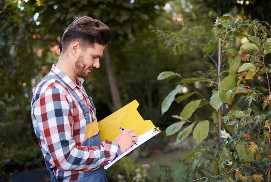 man taking notes in the garden