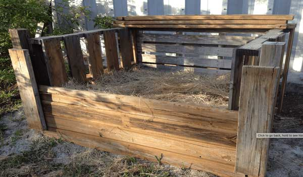 compost bin built from pallets