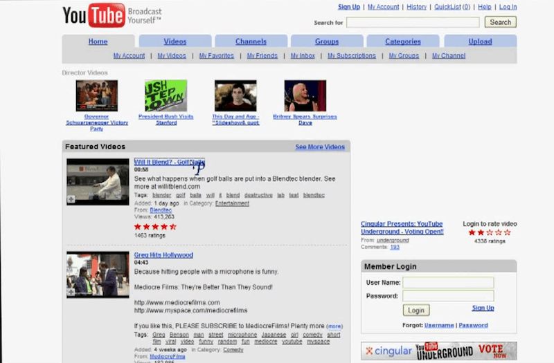 Picture of screenshot of what youtube looked like in 2007
