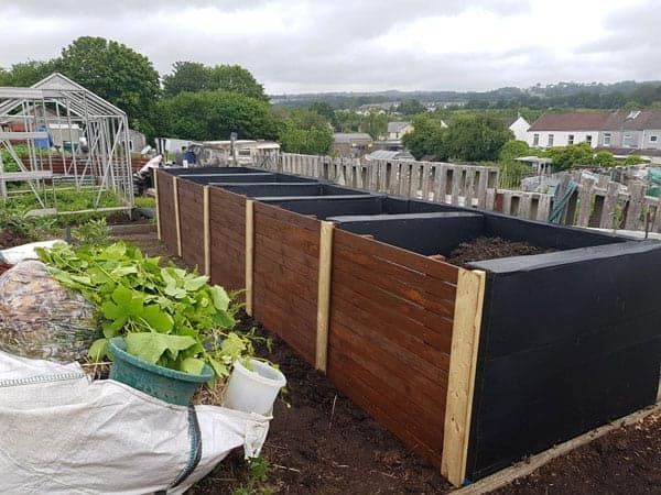 bank of 5 compost bins built by Tony O'Neill