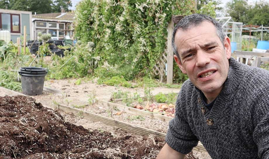 Tony O'Neill with used compost