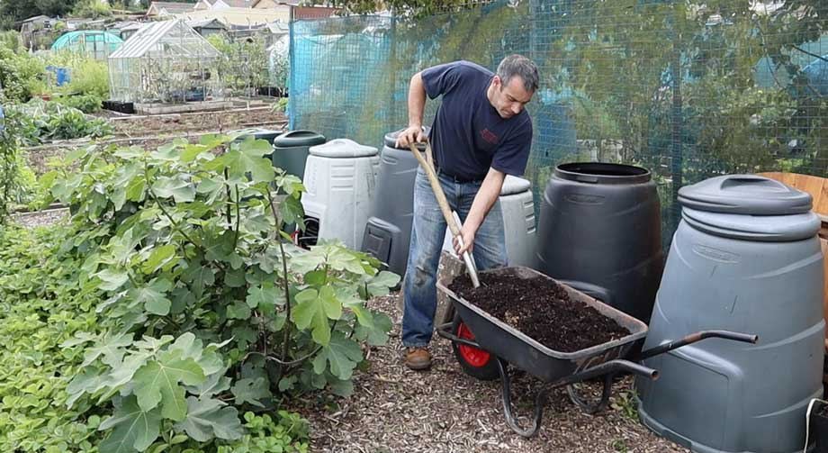 Tony O'Neill collecting leaf mold from compost bin