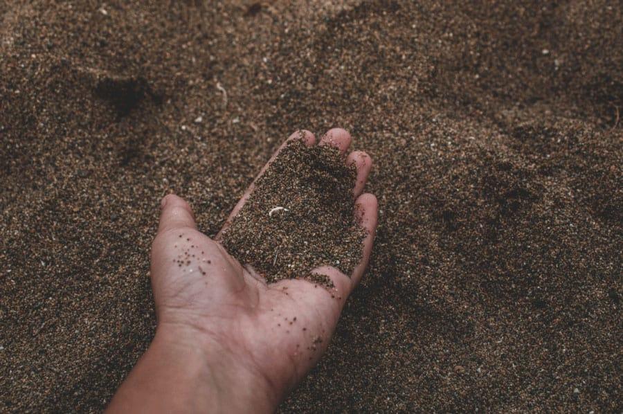 hand holding sandy soil
