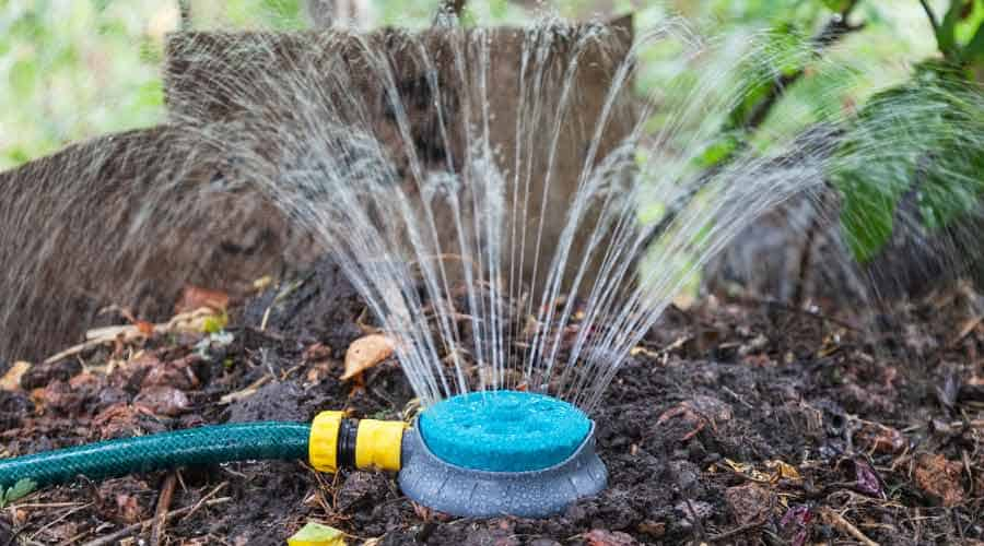 watering compost piles
