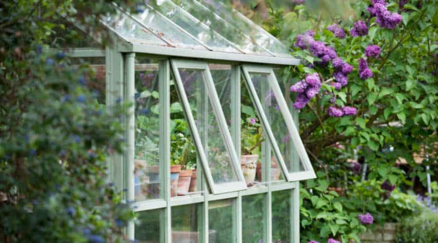 wooden greenhouse with windows open