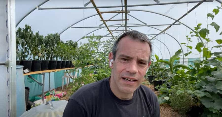 Tony O'Neill in front of his northern polytunnel
