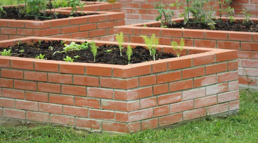 red brick raised garden bed