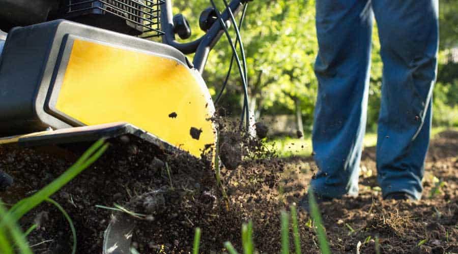 tilling soil in garden
