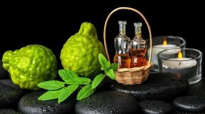 Bergamot essential oil in a bottle