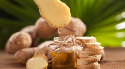 ginger essential oil in a bottle