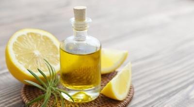 lemon essential oil in a bottle