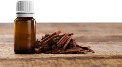 sandalwood essential oil in a bottle