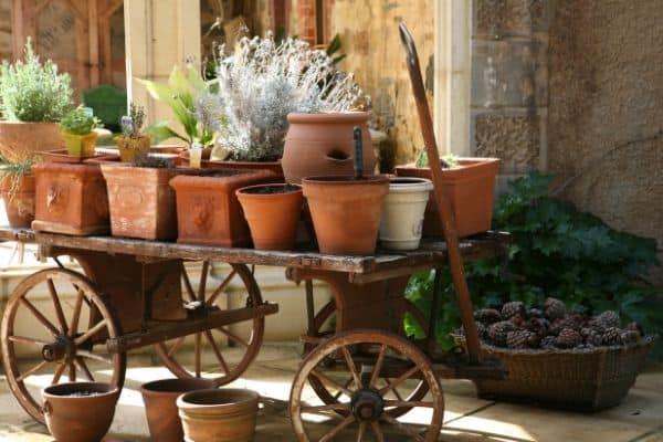 clay pots on old fashion trolley