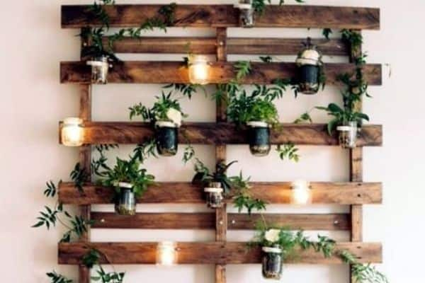 hanging plant stand made from pallets