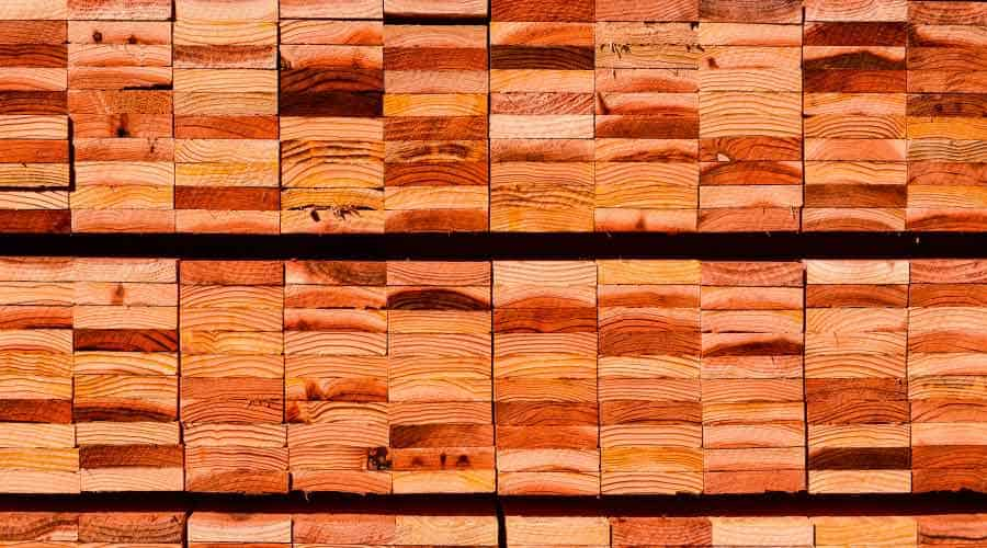 ends of a stacked pile of timber