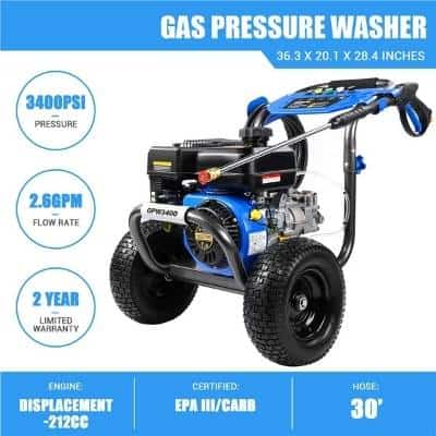 A picture of a gasoline driven high pressure washer