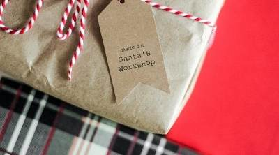 Picture of a present with a tag reading - made in Santa's workshop - Thumb