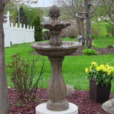 A picture of a pineapple shaped fountain