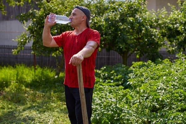 Picture of a gardener drinkinh water on his garden