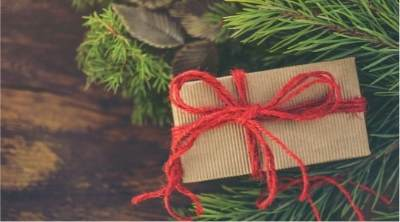 A picture of a gift tied with a red bow under a tree