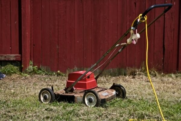 image of corded lawn mower